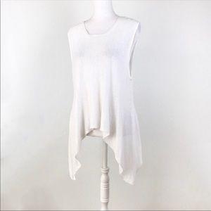 Eileen Fisher sleeveless sweater uneven hem white